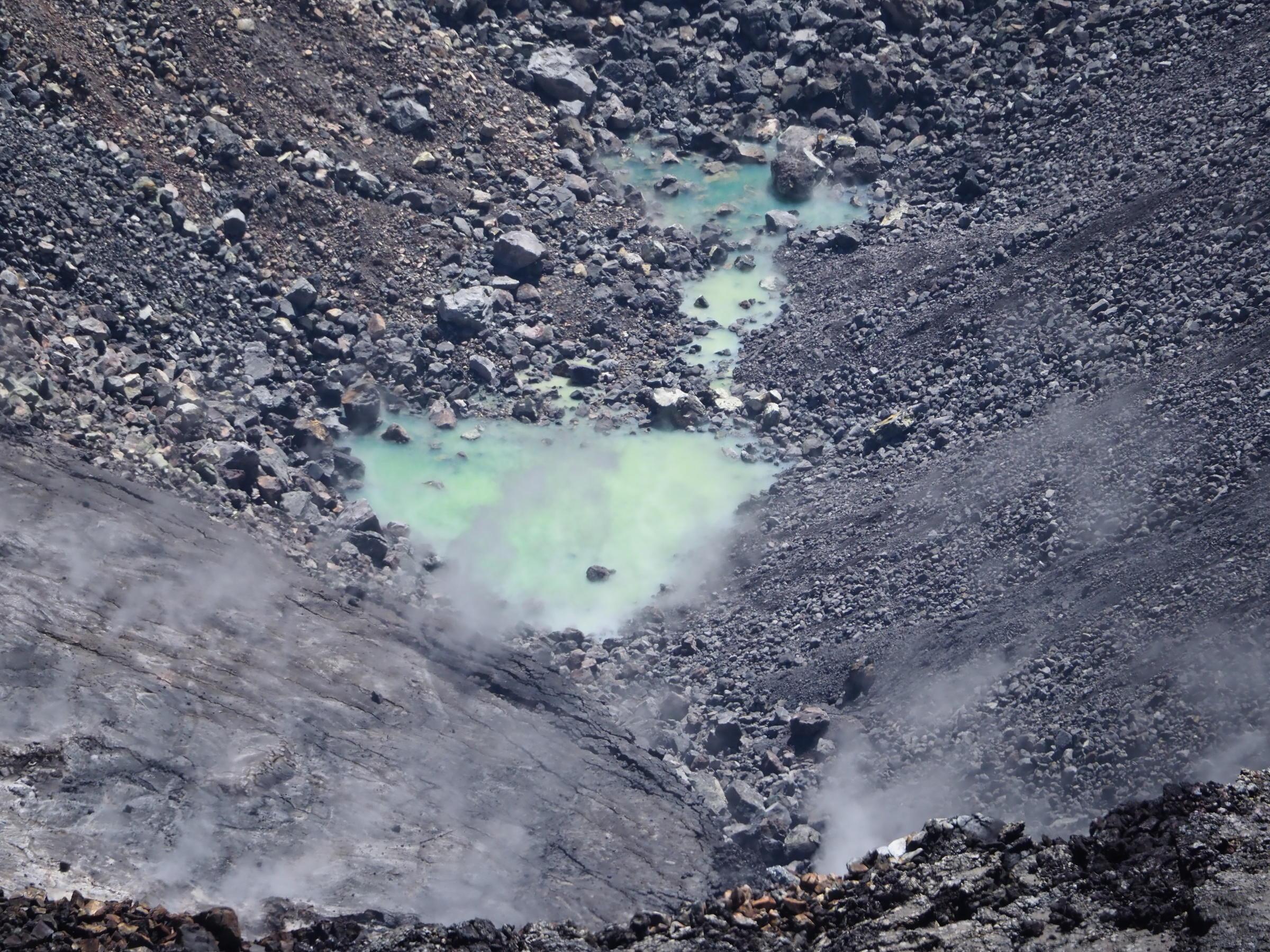 Inspecting Kilauea Infant Crater Lake